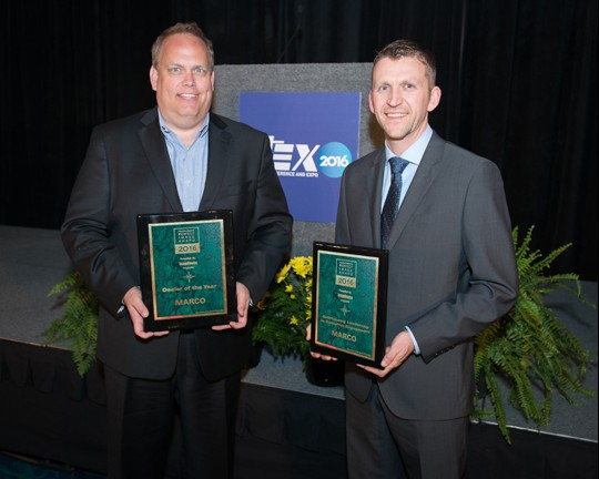 From Left: Marco named winner of two 2016 Perfect Image Awards by imageSource Magazine in the categories of Dealer of the Year and Outstanding Leadership in Customer Engagement. Steve Gau, VP of Sales, and Trevor Akervik, Sr. Sales Director, accepted the awards at the ITEX Conference and Expo on March 8 in Ft. Lauderdale, FL.