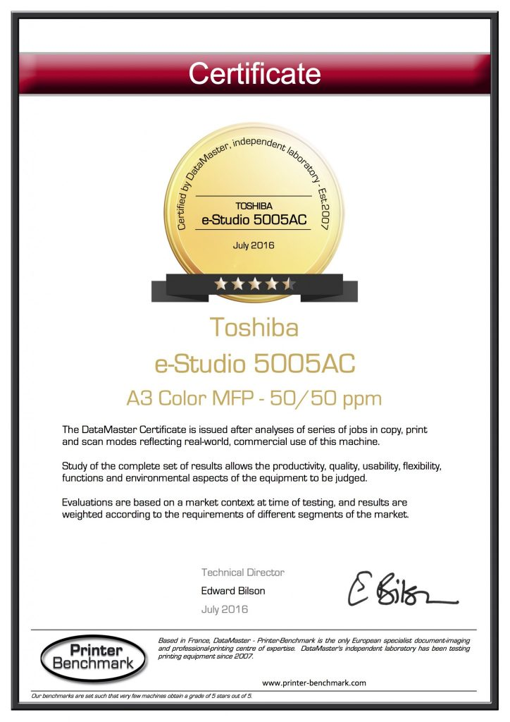 Toshiba E Studio 5005ac Earns 45 Stars Mtr Inc